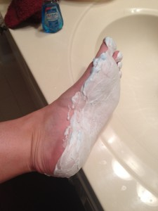 shaving cream on feet