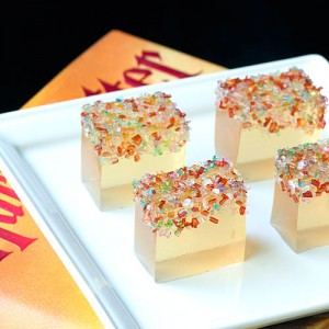 Ok, these are actually butterbeer jello shots from Rock Ur Party, but they're on the champagne jello shot blog post at Perpetually Engaged.