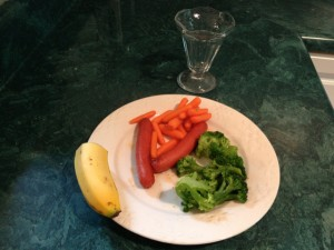 Supper, Day 2 (Not pictured: 1/2 cup of ice cream)