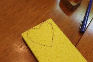 heart drawing on sponge