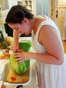 Princess Leia scooping watermelon