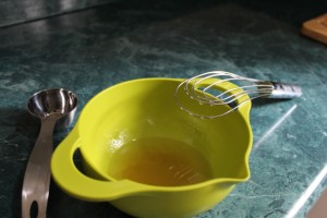 mixing oil and honey