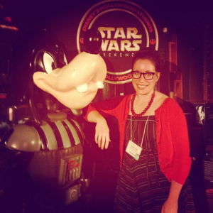 With Darth Goofy at the Disney Star Wars party