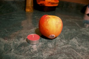 apple and candle