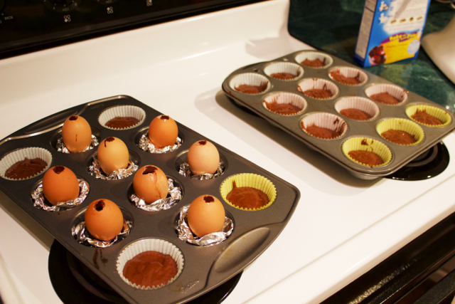 egg cupcakes ready to bake