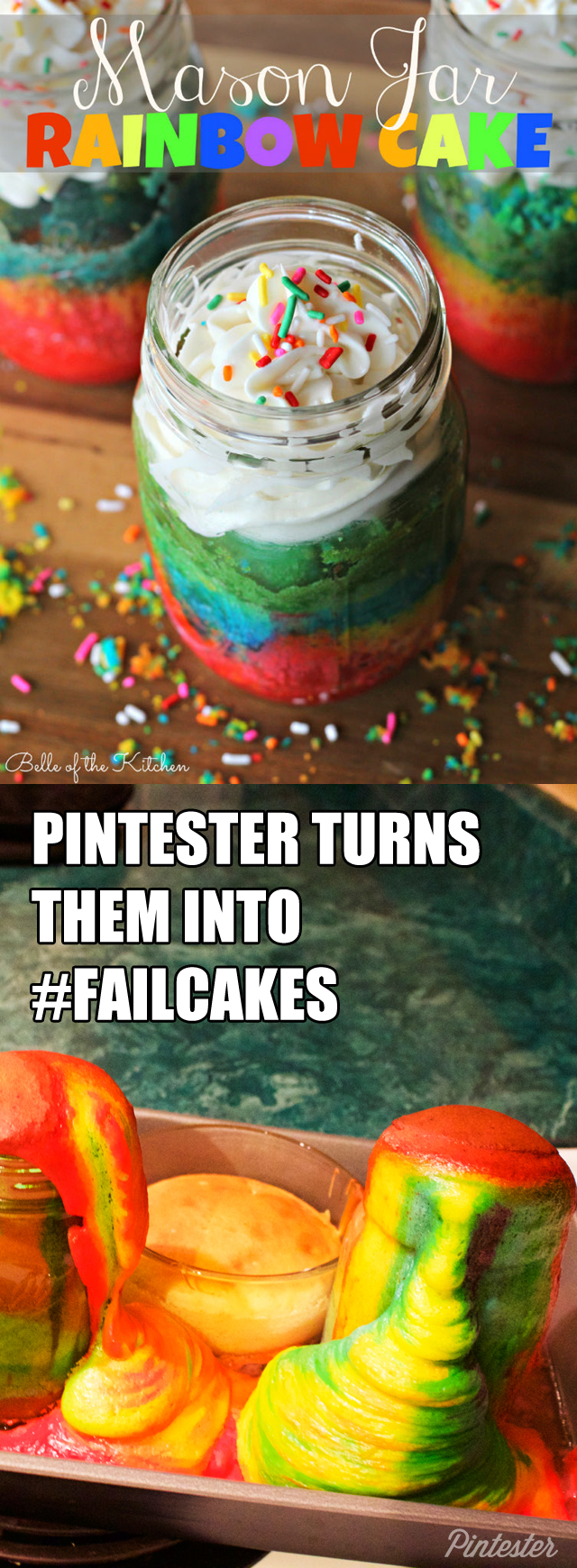 mason jar rainbow cake FAIL