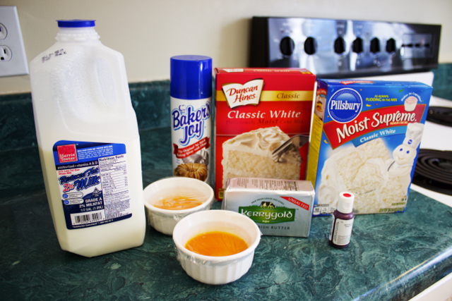 Image of cake mix and ingredients