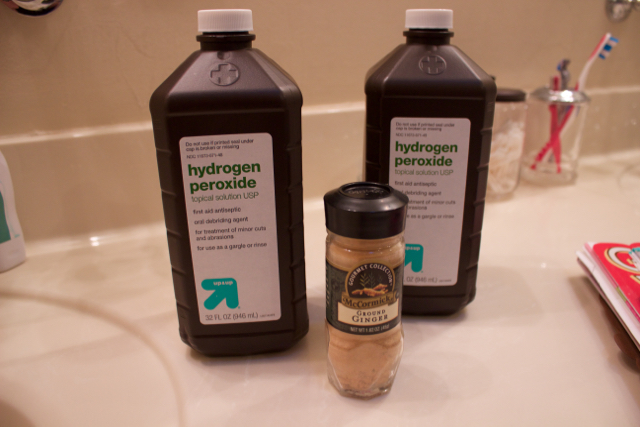 Ingredients for a detox bath: hydrogen peroxide and ginger.